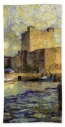 Starry Carrickfergus Castle Beach Towel