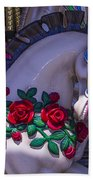 Carrsoul Horse With Roses Beach Towel
