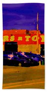 Cars R Toys Evening Rue St.jacques Used Cars Trucks Suvs Montreal Urban Scene Carole Spandau Beach Towel