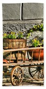 Cart And Flowers In Slovenia Beach Towel