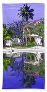 Cartoon - Cottages And Lagoon Water Beach Towel