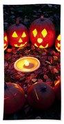 Carved Pumpkins With Pumpkin Pie Beach Towel