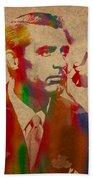 Cary Grant Watercolor Portrait On Worn Parchment Beach Towel