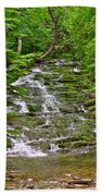 Cascade Over Mossy Rocks Along La Chute Trail In Forillon Np-qc Beach Towel