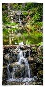 Cascading Waterfall And Pond Beach Towel by Elena Elisseeva
