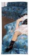 Cassatt's Little Girl In A Blue Armchair Beach Towel