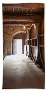 Castelle Di Amorosa Barrel Room Beach Towel by Scott Campbell