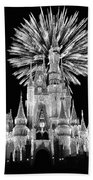 Castle With Fireworks In Black And White Walt Disney World Beach Towel