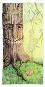 Cat And Great Mother Tree Beach Towel