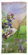 Cat In Calla Lily Hat Beach Towel