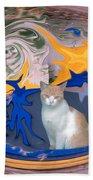 Cat In Doorway Fantasy Beach Towel