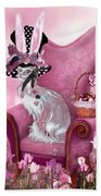 Cat In Mad Hatter Hat Beach Towel by Carol Cavalaris