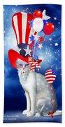 Cat In Patriotic Hat Beach Sheet