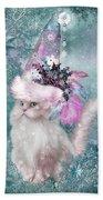 Cat In Snowflake Hat Beach Towel
