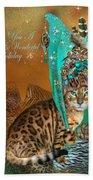 Cat In The Leopard Trim Santa Hat Mixed Media By Carol
