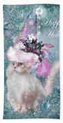 Cat In The Snowflake Santa Hat Beach Towel