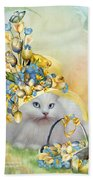 Cat In Yellow Easter Hat Beach Towel