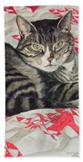 Cat On Quilt  Beach Towel