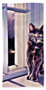 Cat On Window Sill Beach Towel