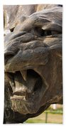 Cat Statue At Maharaja's Palace India Mysore Beach Towel