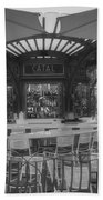 Catal Outdoor Cafe Downtown Disneyland Bw Beach Towel