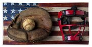 Catchers Glove On American Flag Beach Sheet