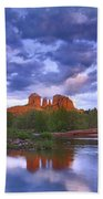 Cathedral Rock And Oak Creek At Red Beach Towel by Tim Fitzharris