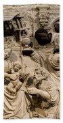 Cathedral Wall Nativity Sculpture Beach Towel