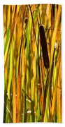 Cattails Aflame Beach Towel