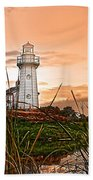 Cattails And Lighthouse In Indiana Beach Towel