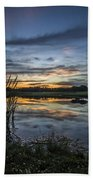 Cattails And Sunset Beach Towel