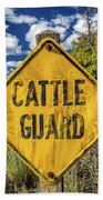 Cattle Guard Road Sign Beach Towel