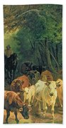Cattle Watering In A Wooded Landscape Beach Towel