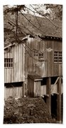 Cedar Creek Grist Mill Sepia Beach Towel