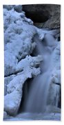 Cedar Falls In Winter At Hocking Hills Beach Towel by Dan Sproul
