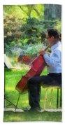 Cellist In The Garden Beach Towel