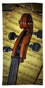Cello Scroll With Sheet Music Beach Towel