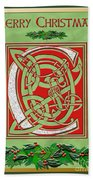 Celtic Christmas C Initial Beach Towel