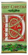 Celtic Christmas D Initial Beach Towel