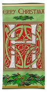 Celtic Christmas H Initial Beach Towel