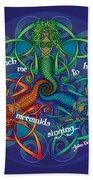 Celtic Mermaid Mandala Beach Towel