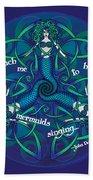 Celtic Mermaid Mandala In Blue And Green Beach Towel