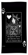 Celtic Queen Of Hearts Part I In Black And White Beach Towel
