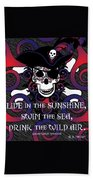 Celtic Spiral Pirate In Blues And Reds Beach Towel