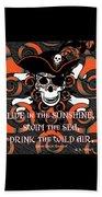 Celtic Spiral Pirate In Orange And Black Beach Towel