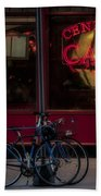 Central Cafe Bicycles Beach Towel