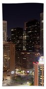 Central Houston At Night Beach Towel