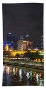Central Melbourne Skyline At Night Australia Beach Towel
