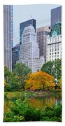 Central Park And Fifth Autumn View Beach Towel