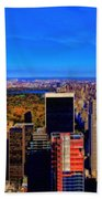 Central Park And New York City In Autumn Beach Towel
